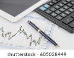 tablet computer  calculator ... | Shutterstock . vector #605028449