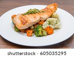 Salmon Fillet On A Bed Of...