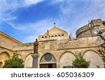 saint jerome statue saint... | Shutterstock . vector #605036309