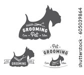 Stock vector pet grooming logo set scottish terrier icon vector illustration 605039864