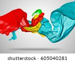 smooth elegant colored cloth... | Shutterstock . vector #605040281