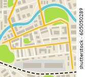 abstract city map with roads... | Shutterstock .eps vector #605050289