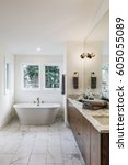 Small photo of Closeup of a spacious modern bathroom, bright and airy