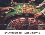 Gambling table in luxury casino. - stock photo
