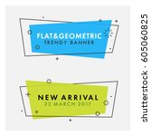 Set of trendy flat geometric vector banners. Vivid transparent banners in retro poster design style. Vintage colors and shapes. Green and blue banner design. | Shutterstock vector #605060825