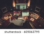 sound engineer working in... | Shutterstock . vector #605063795