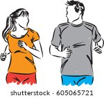 fitness couple vector... | Shutterstock .eps vector #605065721