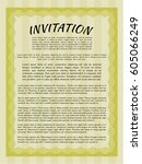 yellow invitation template.... | Shutterstock .eps vector #605066249