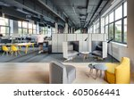 office in a loft style with... | Shutterstock . vector #605066441