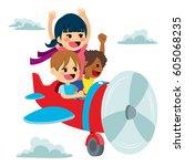 cute little children flying on...   Shutterstock .eps vector #605068235