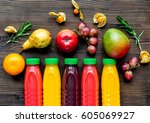 plastic bottles with fruit... | Shutterstock . vector #605069927