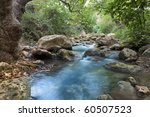 Stream With Rocks In Motin Blu...