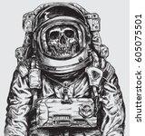 hand drawn astronaut skull | Shutterstock .eps vector #605075501