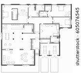 black and white floor plans of... | Shutterstock .eps vector #605076545
