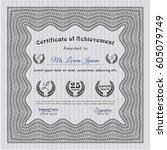 grey diploma or certificate... | Shutterstock .eps vector #605079749
