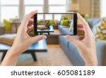 female hands holding smart... | Shutterstock . vector #605081189