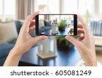 female hands holding smart... | Shutterstock . vector #605081249