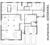 black and white floor plans of... | Shutterstock .eps vector #605084081