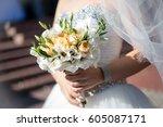 beautiful wedding bouquet in... | Shutterstock . vector #605087171