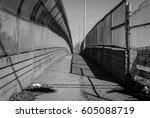 urban chain link fence walkway. ... | Shutterstock . vector #605088719