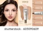 cc cream contained in cosmetic... | Shutterstock .eps vector #605090609