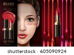 cosmetic lipstick ad  with... | Shutterstock .eps vector #605090924