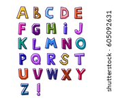 abstract alphabet of bright... | Shutterstock .eps vector #605092631