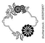 silhouette round frame.... | Shutterstock .eps vector #605093897