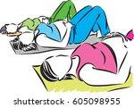 fitness pregnant women vector...   Shutterstock .eps vector #605098955