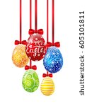 easter eggs with ribbons on... | Shutterstock .eps vector #605101811