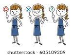 woman in apron figure  answer | Shutterstock .eps vector #605109209