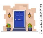 blue front door on the brick... | Shutterstock .eps vector #605109821