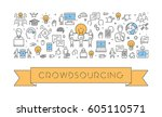 vector line web banner for... | Shutterstock .eps vector #605110571