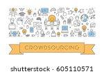 vector line web banner for... | Shutterstock .eps vector #605110571