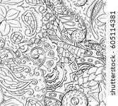 tracery seamless calming...   Shutterstock .eps vector #605114381
