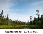 pristine nature of the Russian North. Lake in the taiga - stock photo