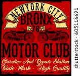 motorcycle label t shirt design ... | Shutterstock .eps vector #605116691
