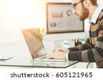 finance specialist working on...   Shutterstock . vector #605121965