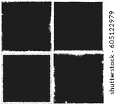black square shape distress... | Shutterstock .eps vector #605122979