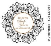 invitation with floral... | Shutterstock .eps vector #605127059