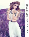 beautiful romantic woman in the ... | Shutterstock . vector #605129339
