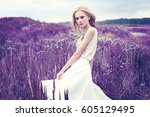 beautiful romantic woman in the ... | Shutterstock . vector #605129495