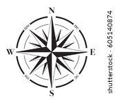 a vector compass rose with... | Shutterstock .eps vector #605140874