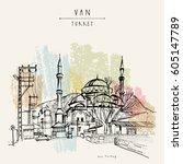 mosque in van  eastern turkey....   Shutterstock .eps vector #605147789