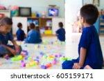 blur image of children in child ... | Shutterstock . vector #605159171