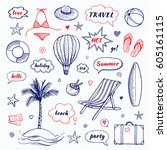 set of hand drawn travel doodle.... | Shutterstock .eps vector #605161115