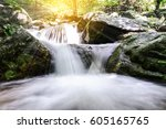 beautiful waterfall in national ... | Shutterstock . vector #605165765