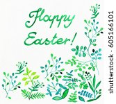 flower watercolor . background... | Shutterstock . vector #605166101
