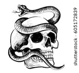 skull and snake | Shutterstock . vector #605172839