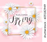 pink spring background with... | Shutterstock .eps vector #605182949